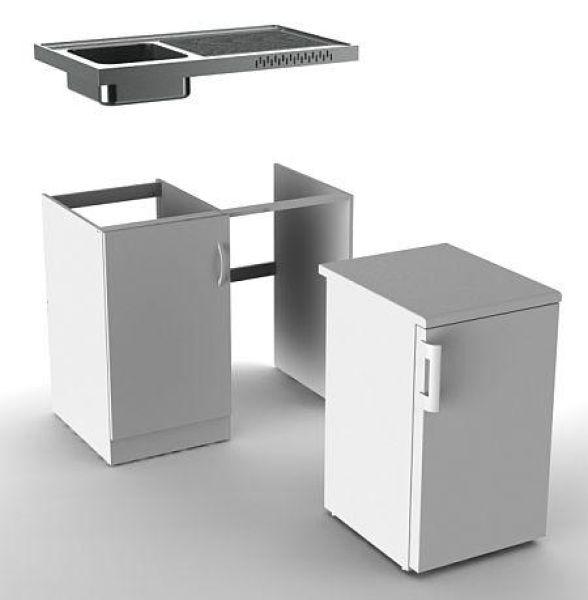 Vivicum - Edelstahl-Miniküche mit Kühlschrank günstig kaufen: VIVICUM.de