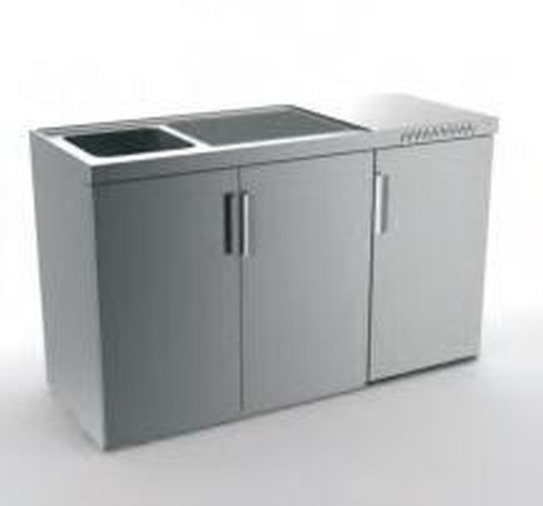 Edelstahl-Miniküche mit Kühlschrank 150 cm
