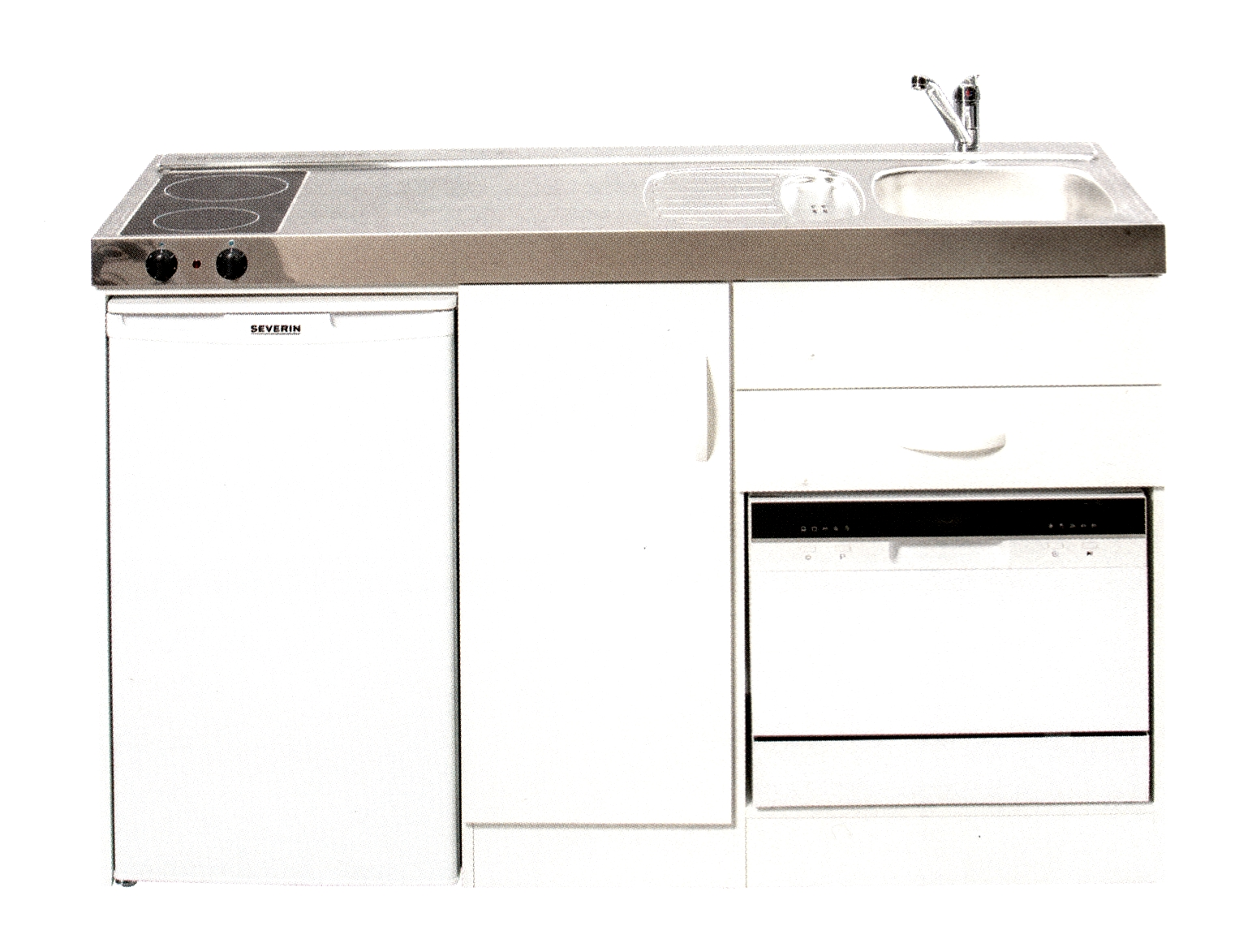 Miniküche mit Kühlschrank und Geschirrspüler, 150 cm